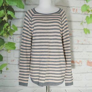 French Connection Gray/Blush Stripes Sweater